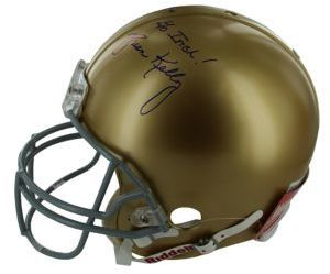 "$750 - Steiner Sports Brian Kelly Signed Notre Dame Full Size Authentic Helmet and Glass Display Case - Notre Dame Head Coach Brian Kelly has hand-signed this Authentic Notre Dame Full-Size Helmet, and inscribed on it ""Go Irish."" Un-ranked at the start of the 2012 season, Kelly led the Fighting Irish all the way to the BCS National Championship Game against Alabama. Brian Kelly's autograph is a must have for any true Notre Dame fan. .12"" x 12"" x 12"".Hand signed. Includes Certificate of…"