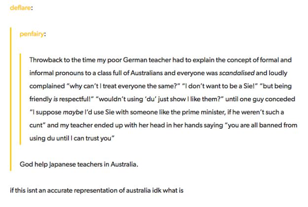 And learning languages: | 47 Times Australians Were The Funniest People On Tumblr In 2016