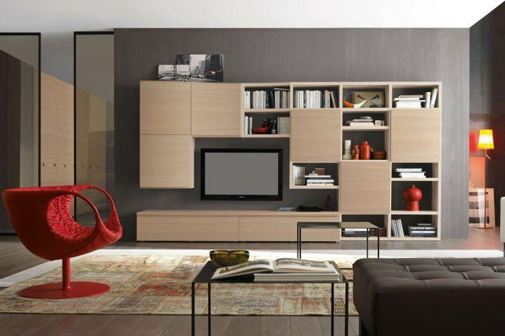 Parete attrezzata per soggiorno in legno chiaro 580, bellezza e funzionalità tra basi con cassetti, pensili contenitore e libreria | Napol.it