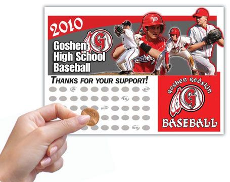 Baseball Fundraiser Scratch Off Cards - Baseball Fundraising Ideas - Fundraisers for Baseball - Donation Scratch Cards