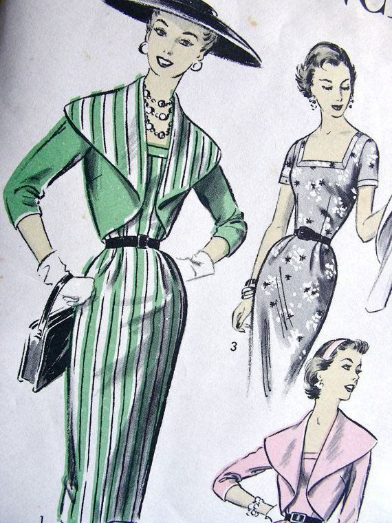 RARE * 1950s Advance Pattern 6971 - Ladies' Sheath Dress with Cape Collar Jacket…