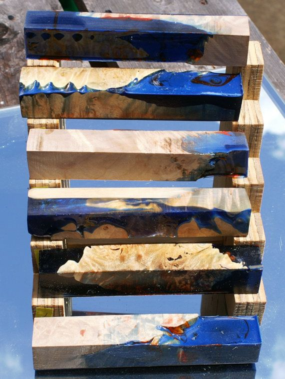 maple burl fused with deep sea blue dyed alumilite resin pen blanks  You are buying a single pen blank...There are several in these pictures but you are only buying 1. If you want more of these, then contact me and well work out the details.  These are the blanks you will receive these are handmade pen blanks . Alumilite with sharp tools and light cuts turns like a breeze! It does not chip since its not brittle like PR or acrylic acetate that many stores sell.  This listing is for one 7/8 x…