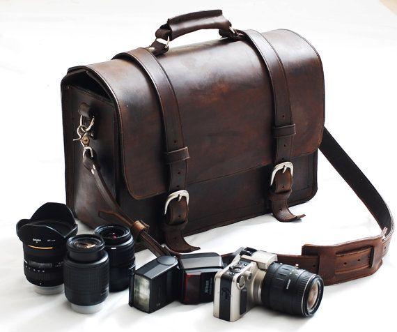 Sac en cuir de nouvelle caméra de poche - plein mustang d'épaisseur sac brun en cuir de 18 pouces - Fabriqué à la commande