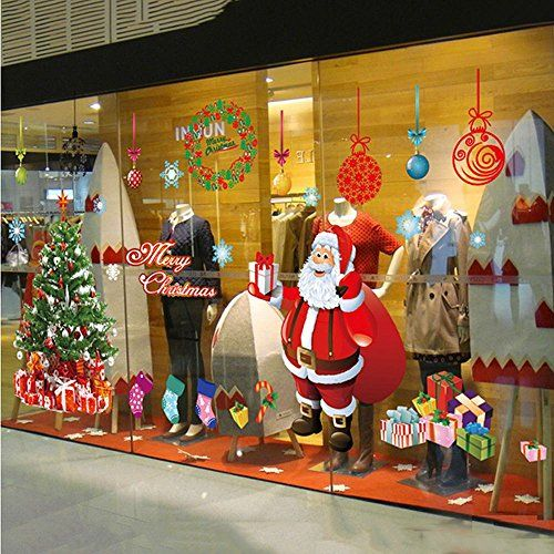 Alicemall Festival Christmas Glass Wall Decoration Extra Large Removable Wall Sticker Christmas Tree Gifts Socks Santa Claus Print Wall Decals Multi11478333 *** Click on the image for additional details.