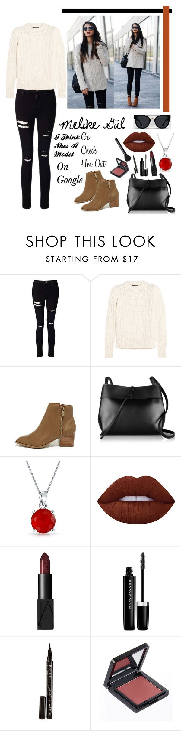 """""""Melike Gül"""" by sehr-lohsar ❤ liked on Polyvore featuring Miss Selfridge, Isabel Marant, Bonnibel, Ray-Ban, Kara, Bling Jewelry, Lime Crime, NARS Cosmetics, Marc Jacobs and Smith & Cult"""