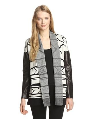 74% OFF Twelfth Street by Cynthia Vincent Women's Cardigan with Leather Sleeves (White)