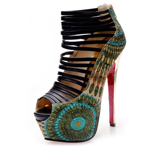 2016 Fashion Peep Toe Stiletto Platform Pauw Super Hoge Hakken Sandalen