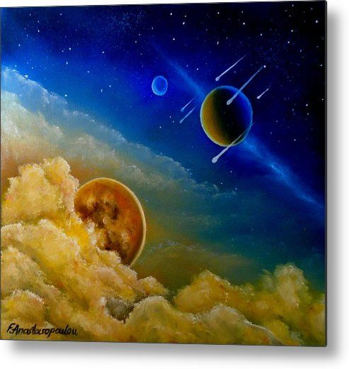 Metal print, painting, art, universe, space, planets, cosmos, sky, clouds, starry, night, commets, wall art, decor, decorative items, colorful, blue, fantasy, fine art america,Cosmic Illumination