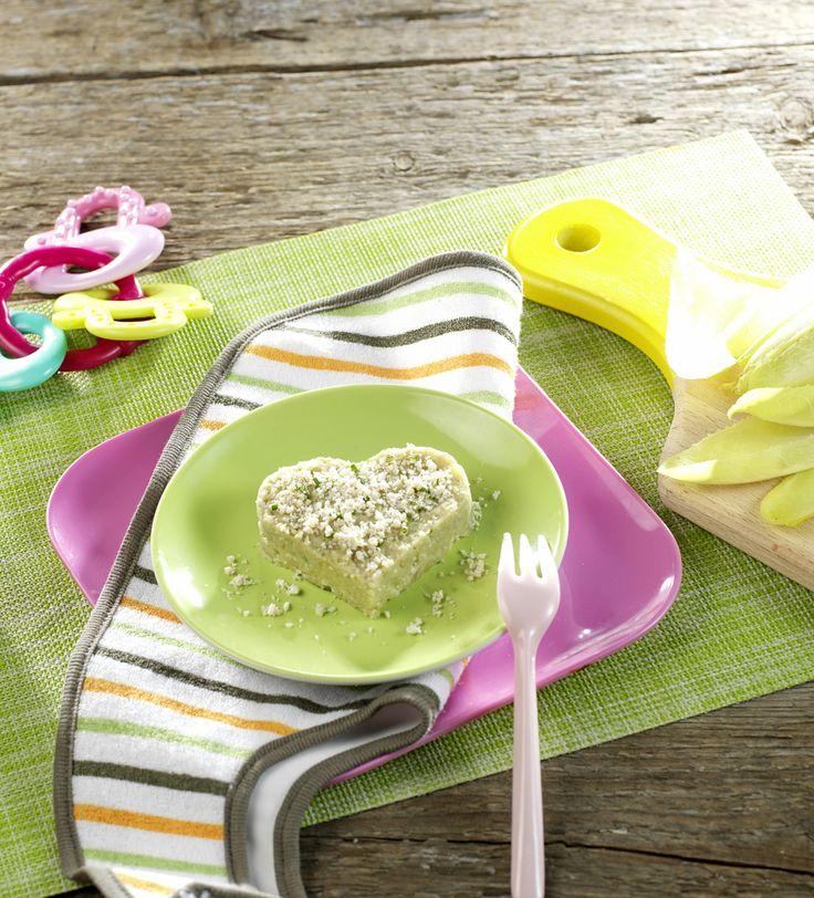 """Une recette pour dire """"Je t'aime"""" à Bébé le jour de la Saint-Valentin! Lapin et purée d'endive pour bébé dès 6 mois. Recette facile idéale au mois de mars. #recettebébé #6mois #saintvalentin"""
