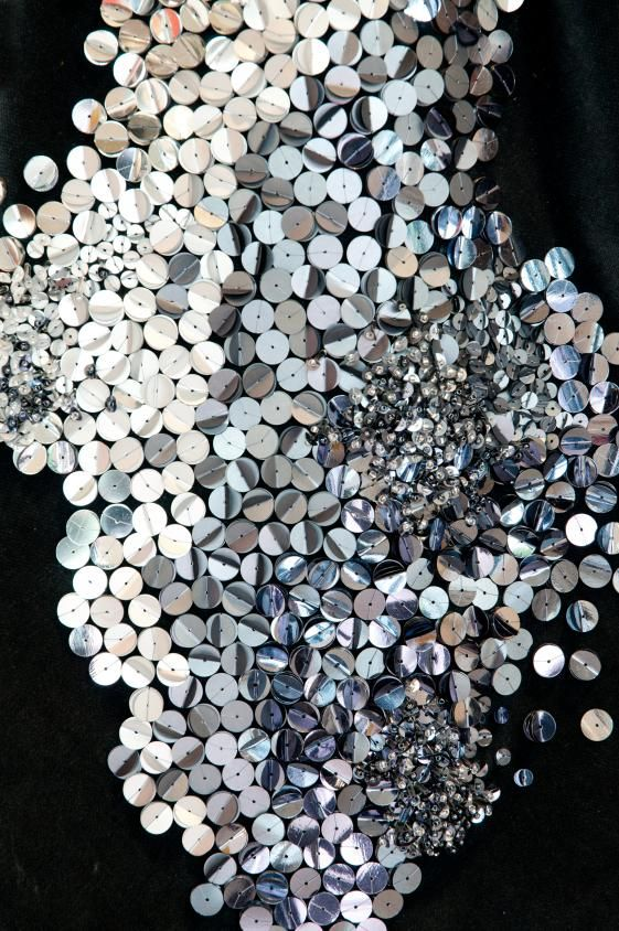 Silver sequin embellished fabric; textiles design for fashion; metallic embroidery // Abigail Gardiner