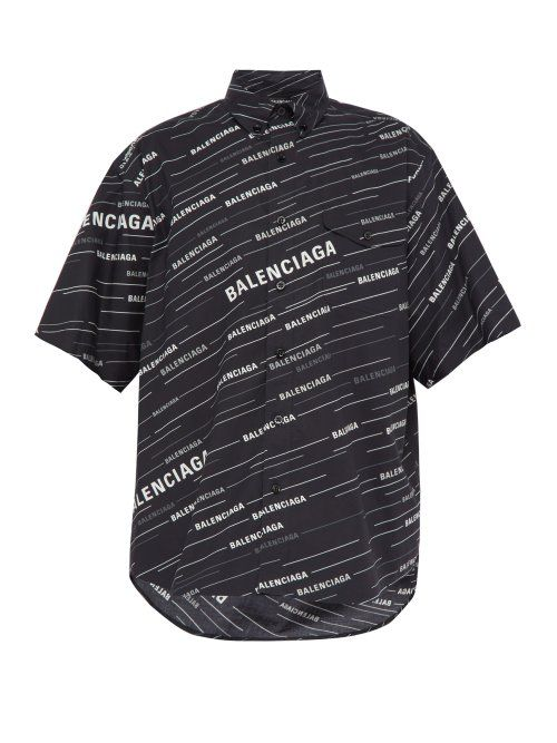 8ef36515cfa1 BALENCIAGA BALENCIAGA - LOGO PRINT COTTON SHIRT - MENS - BLACK GREY. # balenciaga #cloth