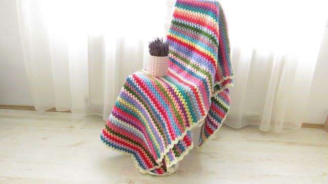 Granny stitch stripe crochet blanket