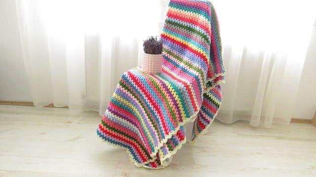 Granny stitch stripe crochet blanket