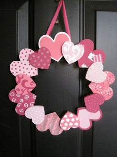 Heart Wreath - Use a hoop, paint wooden hearts (or use scrapbook paper), and glue them on! Doing this!!!