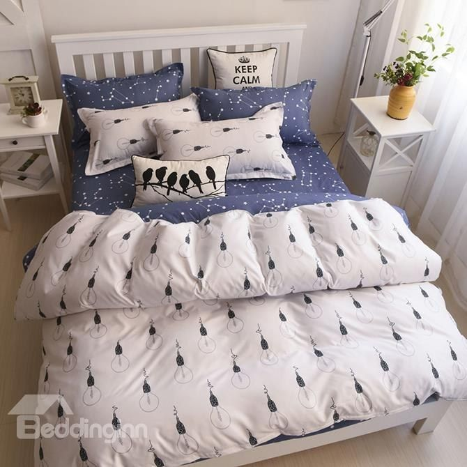 minimalist bulb print polyester 4piece duvet cover sets