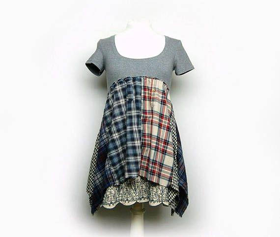 Flannel Tunic Lagengook Boho Chic Shabby Chic Clothing Mori Girl Anthropologie Style Upcycled Clothing for Women by Primitive Fringe by PrimitiveFringe