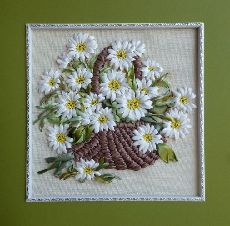 Daisies in a basket #ribbonEmbroidery
