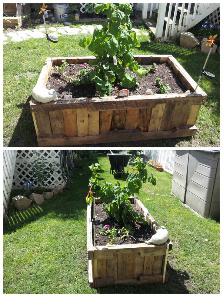 Pallet raised planter pallet ideas gardens planters for Planters made out of pallets