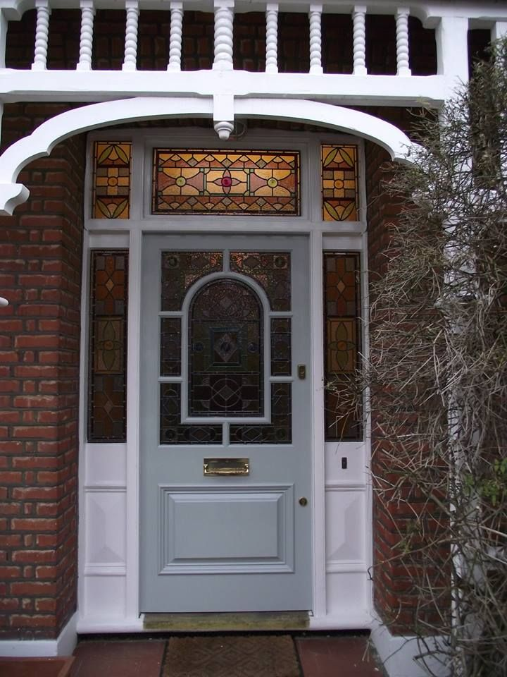 Edwardian style front door in Herne Hill, painted in a satin powder grey. By the London Door Company.
