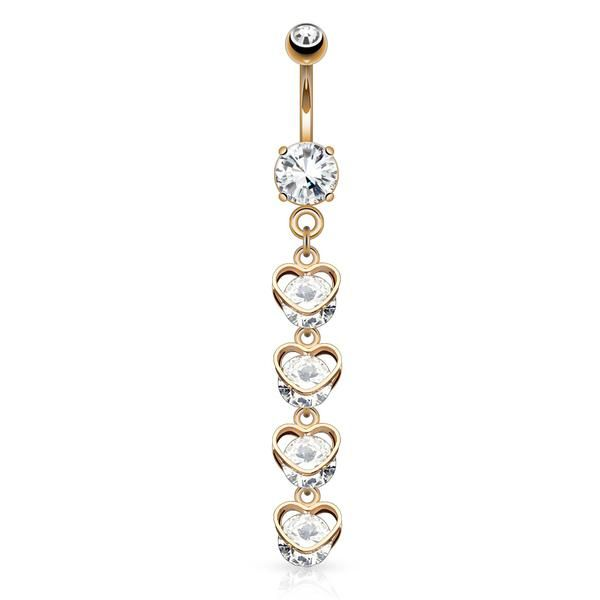 Clear cz Filigree Swirl long dangle Belly button navel Ring piercing bar body jewelry 14g