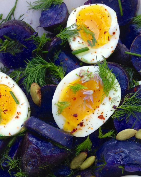 purple fingerlings dressed in extra virgin olive oil, dill,chives and perfect creamy eggs.