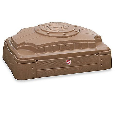 $55. Just lift the lid of the Play and Store Sandbox by Step 2 and your child will have a blast digging into a fun, sand-filled playtime. The contemporary design offers plenty of space, has built-in seats, and blends in beautifully with your backyard.