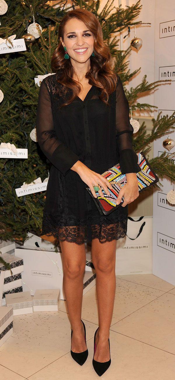 La actriz y mujer de David Bustamante brindó por la Navidad en una tienda en Madrid de la firma de lencería italiana Intimissimi, de la que es embajadora.