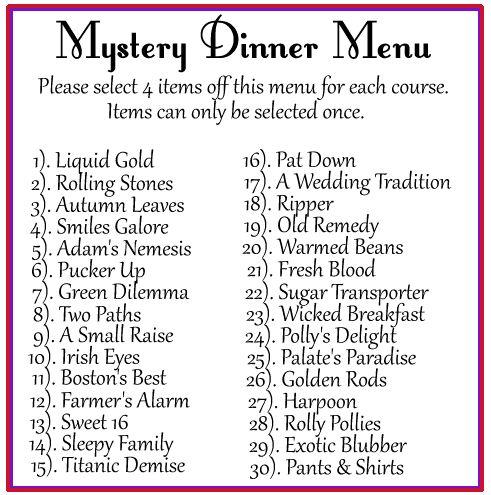 11 best Mixed up dinner images on Pinterest Backyard, Birthday - dinner menu