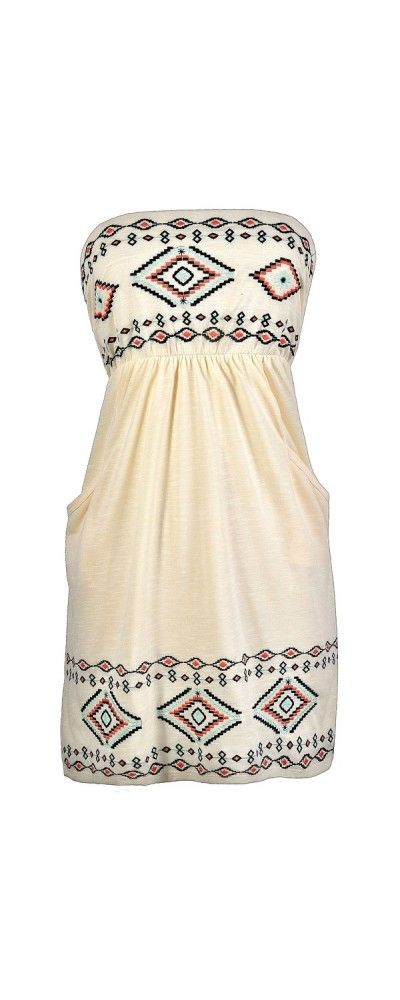 Southwestern Summer Strapless Embroidered Pocket Dress  www.lilyboutique.com