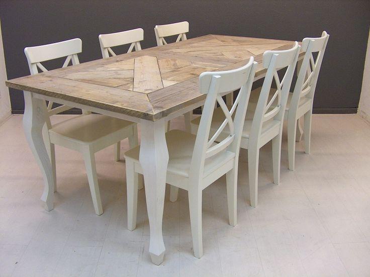 Tafel Queen Anne mozaïek blad steigerhout op voorraad alle maten (23112013) | Tafels maison landelijke stijl | JORG`S Houten Meubelen