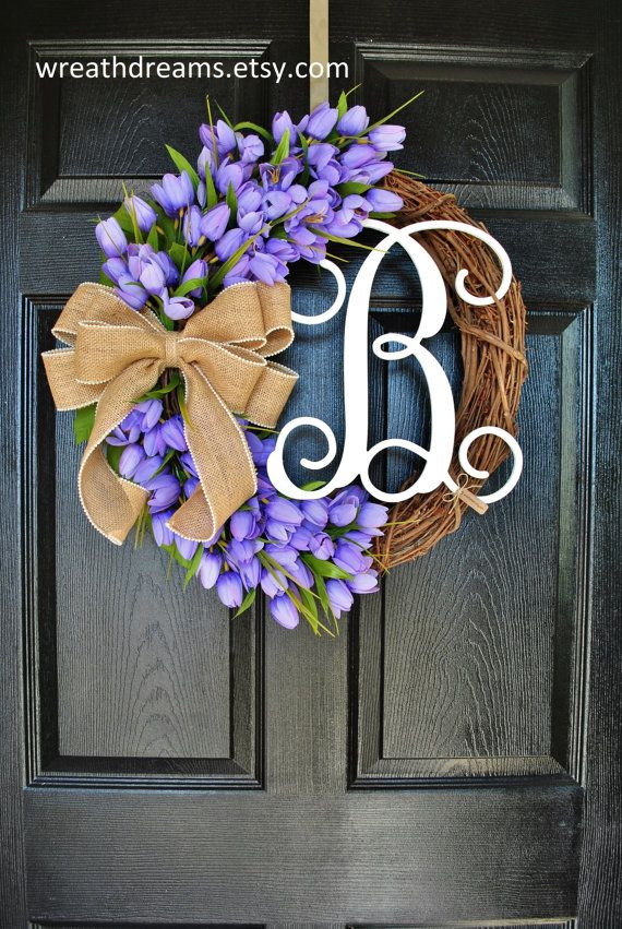 Lavender Mini Tulips Grapevine Wreath with Burlap. Year Round Wreath. Spring Wreath. Summer Wreath. Monogram Wreath. Door Wreath.