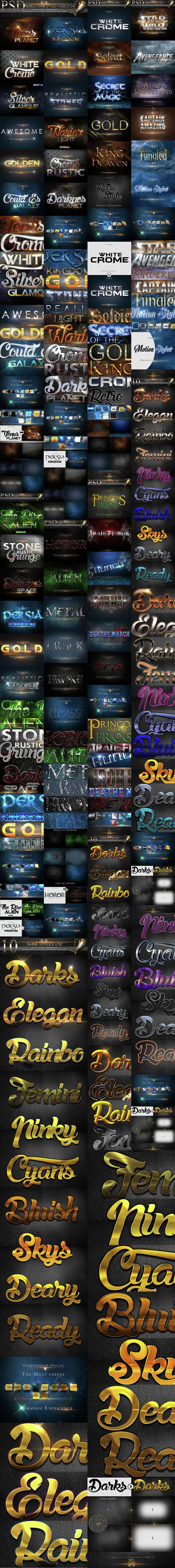 50 Bundle Text Style #styles #unique #text effects • Download ➝ https://graphicriver.net/item/50-bundle-text-style/14614939?ref=pxcr