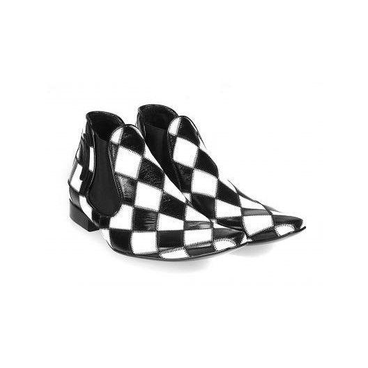 Pánske kožené extravagantné topánky bieločierne PT039 - manozo.hu