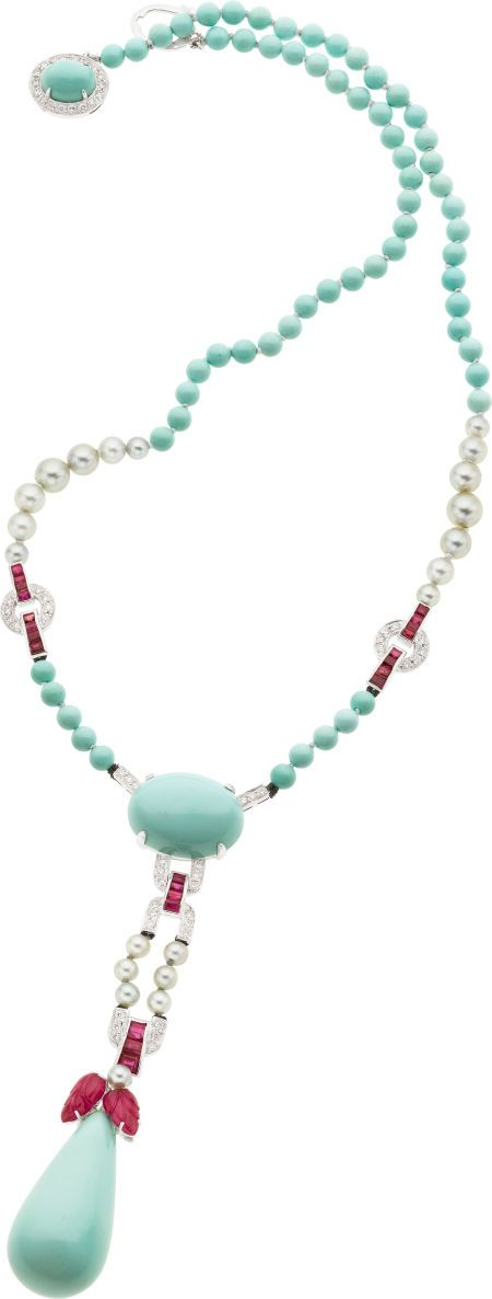 Turquoise, Ruby, Cultured Pearl, Diamond, White Gold Necklace