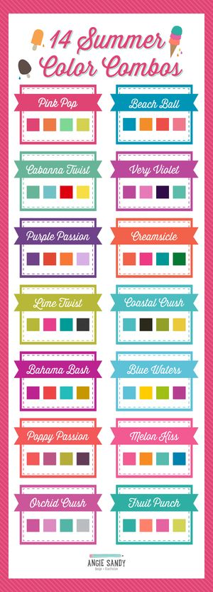 14 Bright Summer Color Palettes | Angie Sandy Art Licensing & Design #angiesandy  #colorpalette #colorcrush