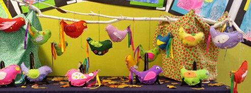 Embroidered birds by grade five.