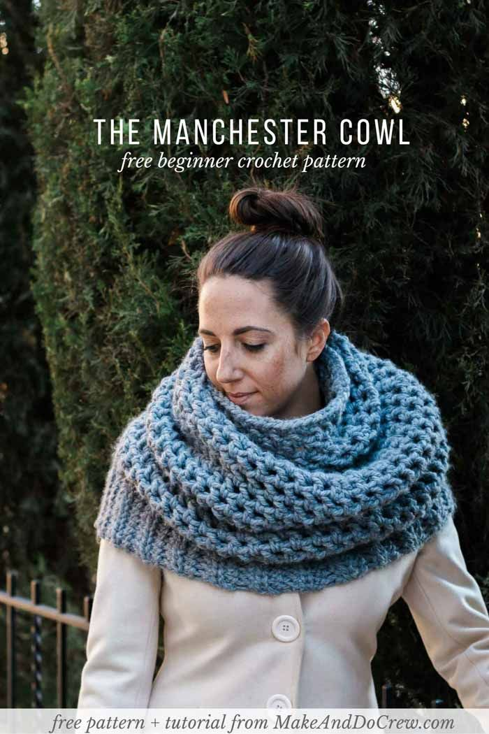 Wow! This chunky mesh cowl makes a perfect quick crochet project or gift. Get the free Manchester Cowl pattern featuring Lion Brand Thick & Quick from Make & Do Crew.