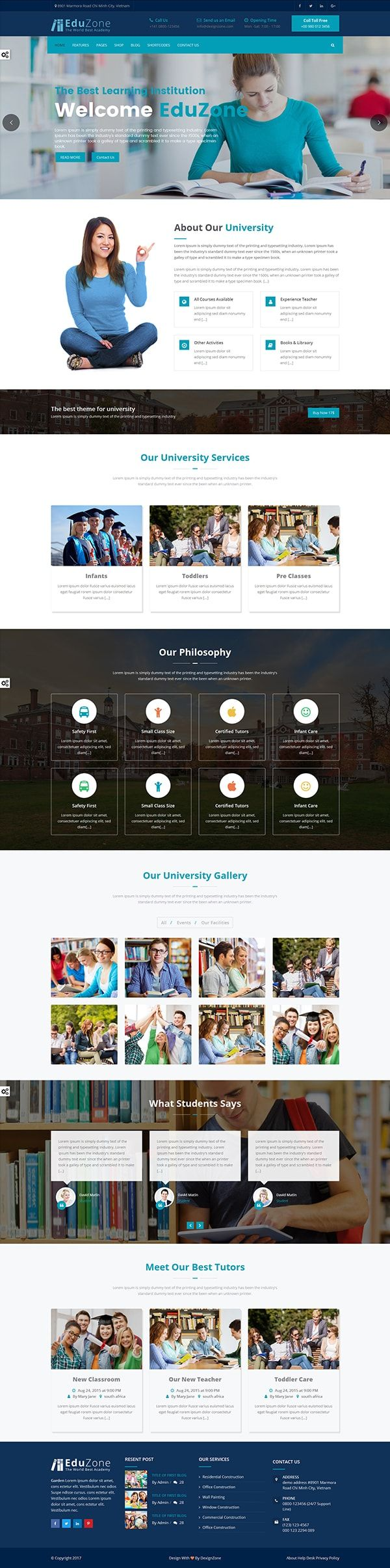 Hello, Guy's our best Education website template is a clean and mobile responsive HTML template, very easy to customize according to business needs.   The template is loaded with tons of shortcodes, 5+ headers, 8+Types Testimonials, 8+Color Theme Styles, Parallax effect much more.
