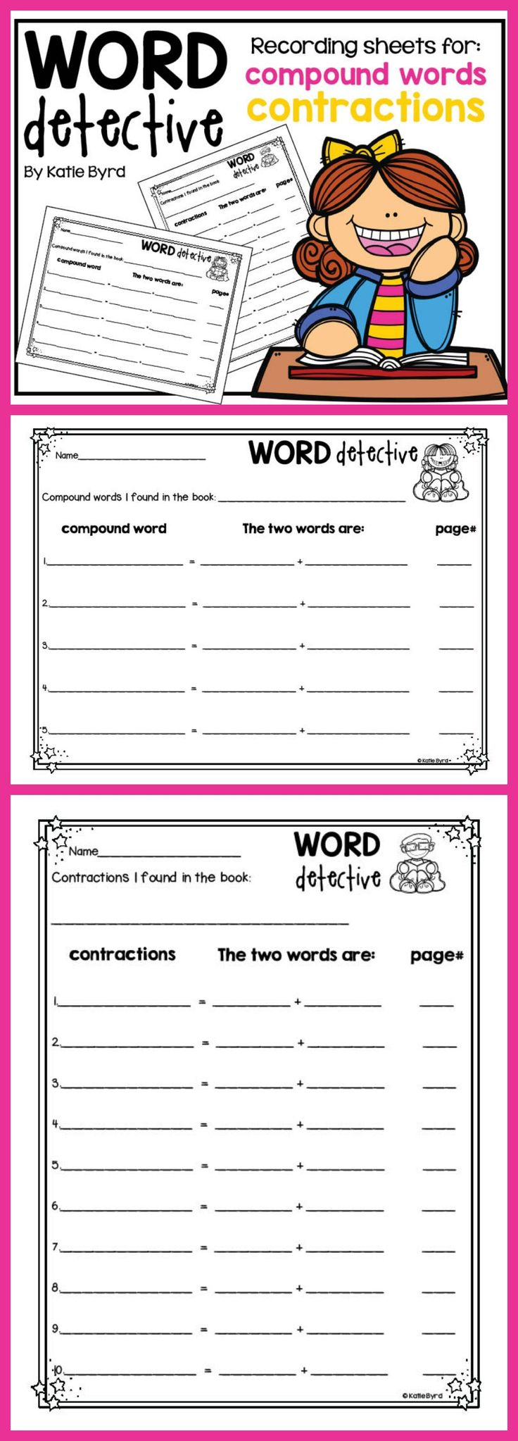 This is a sweet set of recording sheets for open ended word work.  Students can use these to find compound words and contractions in ANY book.  Just print and go!  Made to save your ink and time.  Happy teaching! $