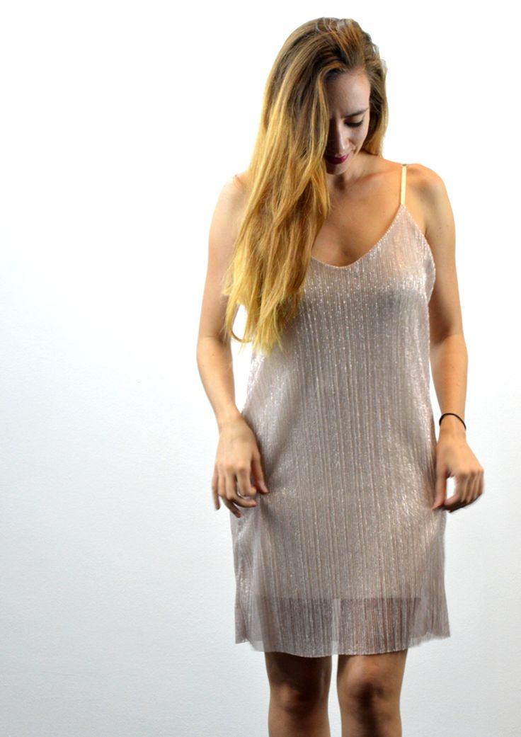 Φόρεμα Γυαλιστερό Μεταλλικό με Τιράντες - ΡΟΖ | shop online: www.musitsa.com