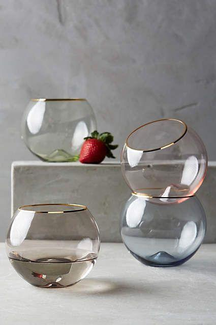 Gilded Rim Stemless Glass - anthropologie.com