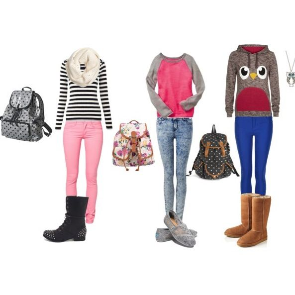 Comfy back to school clothes. Not a particular fan of the last outfit but the others r cute.