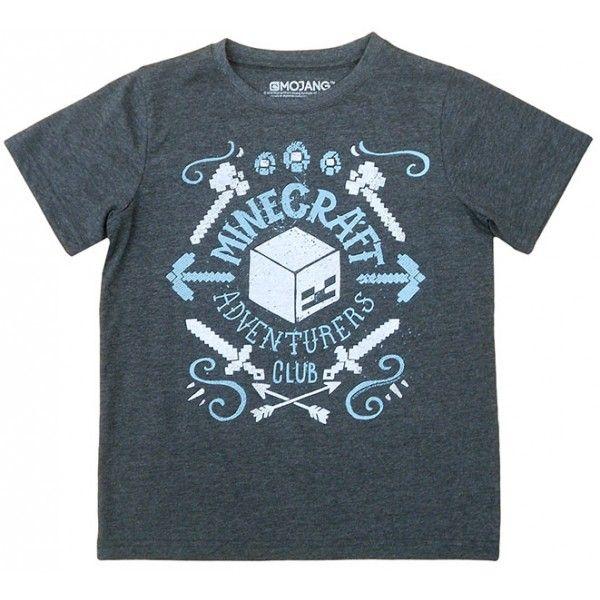 Minecraft t-shirt i grå farve og med sejt motiv fra spillet
