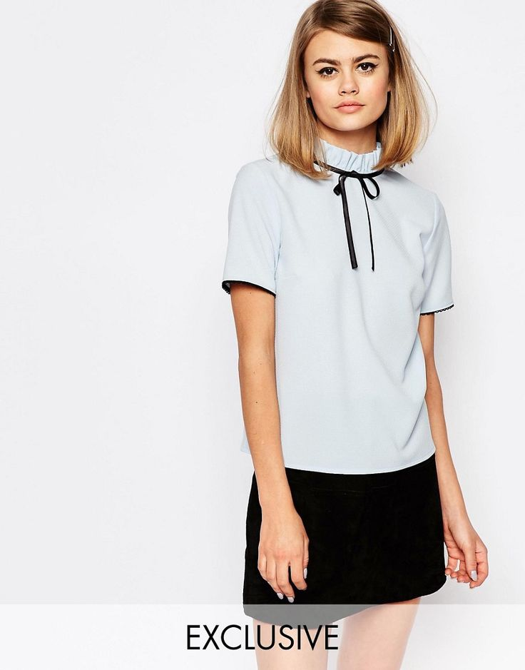 Image 1 ofReclaimed Vintage X Liquid Lunch High Neck Tie Top