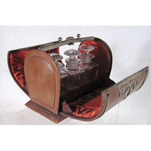 Victorian Three-Bottle Leather and Silver Plate Perfume Casket FOR SALE at www.redantiques.com for £SOLD