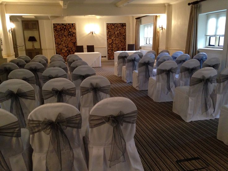 Chair covers with gunmetal sashes