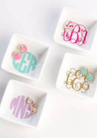 Accessories need their beauty rest, too. Store your sparkling baubles and jewelry in style with a chic monogrammed ring dish.