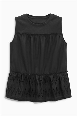 Black Tiered Broderie Shell Top