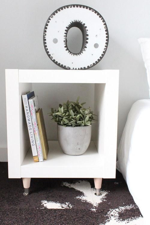 white ikea expedit shelf turned in to a side table