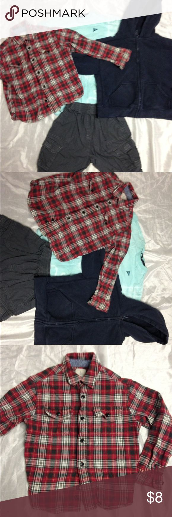 Bundle Lands End 4 pieces Kid Boy size 6-8 This is a bundle of 4 pieces with: 1) one Lands end squares button down shirts size 7, 2) one Lands End hoodie size 6-7, 3) one Lands end tee size 8 and 4) one grey Faded Glory size 6. Incredible price for 4 pieces!!! Lands' End Shirts & Tops Button Down Shirts